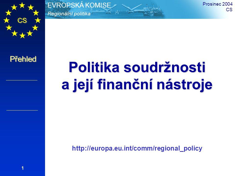CS Přehled Regionální politika EVROPSKÁ KOMISE Prosinec 2004 CS 2 40 % až 49,9 % obyvatel EU (155→224 mil.) ve způsobilých oblastech (Cíl 1 & 2) 213 až 233 miliard Euro pro Strukturální fondy do roku 2006 (třetina rozpočtu EU) 400 až 480 programy Strukturálních fondů 211 až 264 NUTS2 - Regiony Strukturální politika EU 2000-06 po rozšíření
