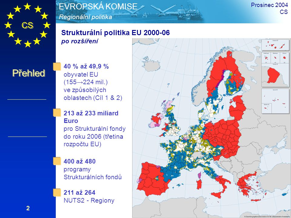 CS Přehled Regionální politika EVROPSKÁ KOMISE Prosinec 2004 CS 3 Historie Začlenění Strukturálních fondů 5 společných Cílů Standardizovaná administrativní pravidla Decentralizovaný management Nárůst rozpočtu Strukturálních fondů až o 14 miliard ECU ročně (přibližně 20 % rozpočtu EU) Zavedení nového Cíle 4 Zjednodušení postupů Nové nástroje soudržnosti a rybolovu Nárůst rozpočtu Strukturálních fondů až o 32 miliard ECU ročně (přibližně 30 % rozpočtu EU) 1994 1999 1989 1993 1960: Evropský sociální fond (ESF) vstupuje v platnost 1974: Spuštění Evropského fondu pro regionální rozvoj 1957 1988 1957 1988 2000 2006 Koncentrace pokrytých regionů a finančních zdrojů Postupné vyřazování některých regionů spadajících pod Cíle 1, 2 a 5b 3 společné Cíle Zavedení Nástroje předvstupních politik (ISPA) pro kandidáty
