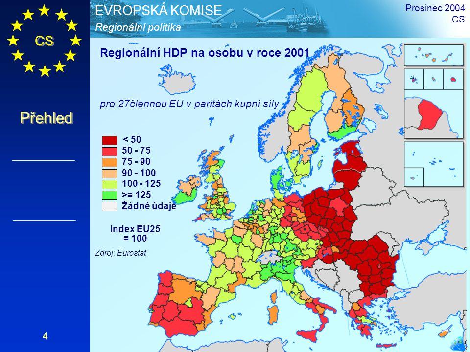 CS Přehled Regionální politika EVROPSKÁ KOMISE Prosinec 2004 CS 4 < 50 50 - 75 75 - 90 90 - 100 100 - 125 >= 125 Žádné údaje Index EU25 = 100 Zdroj: Eurostat Regionální HDP na osobu v roce 2001 pro 27člennou EU v paritách kupní síly