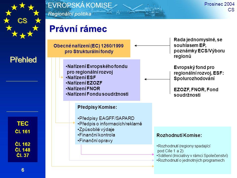 CS Přehled Regionální politika EVROPSKÁ KOMISE Prosinec 2004 CS 17 Cíl Konvergence 78,5% včetně speciálního programu pro nejodlehlejší regiony (264 miliard EUR) Programy a nástroje ZpůsobilostPriorityDotace Cíl Evropská teritoriální spolupráce 3.94% (13,2 miliard.