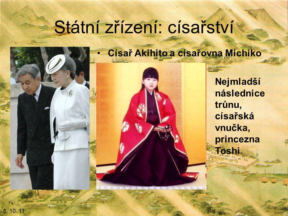 Státní zřízení: císařství Císař Akihito a císařovna Michiko 3, 10, 11 Nejmladší následnice trůnu, císařská vnučka, princezna Toshi