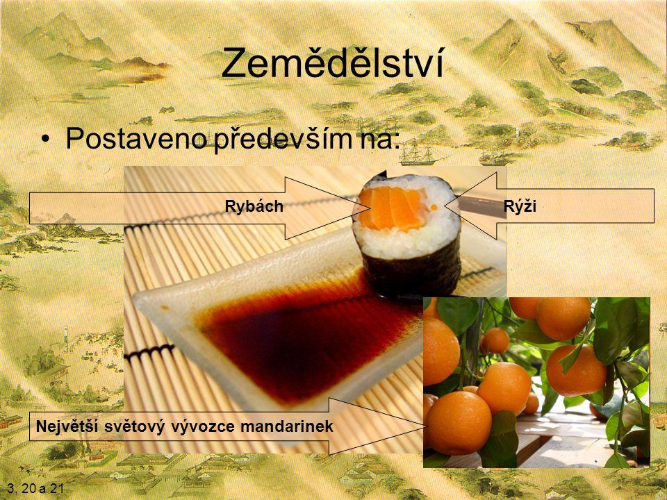 Zemědělství Postaveno především na: 3, 20 a 21 RýžiRybách Největší světový vývozce mandarinek