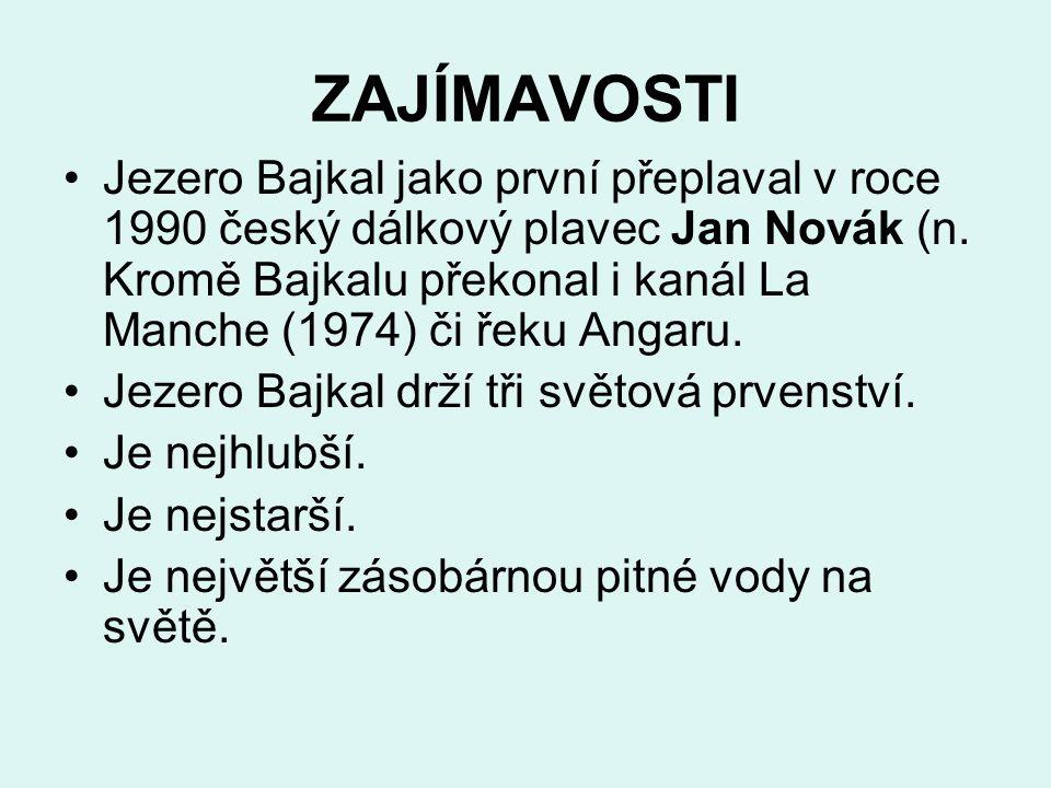 ZAJÍMAVOSTI Jezero Bajkal jako první přeplaval v roce 1990 český dálkový plavec Jan Novák (n. Kromě Bajkalu překonal i kanál La Manche (1974) či řeku
