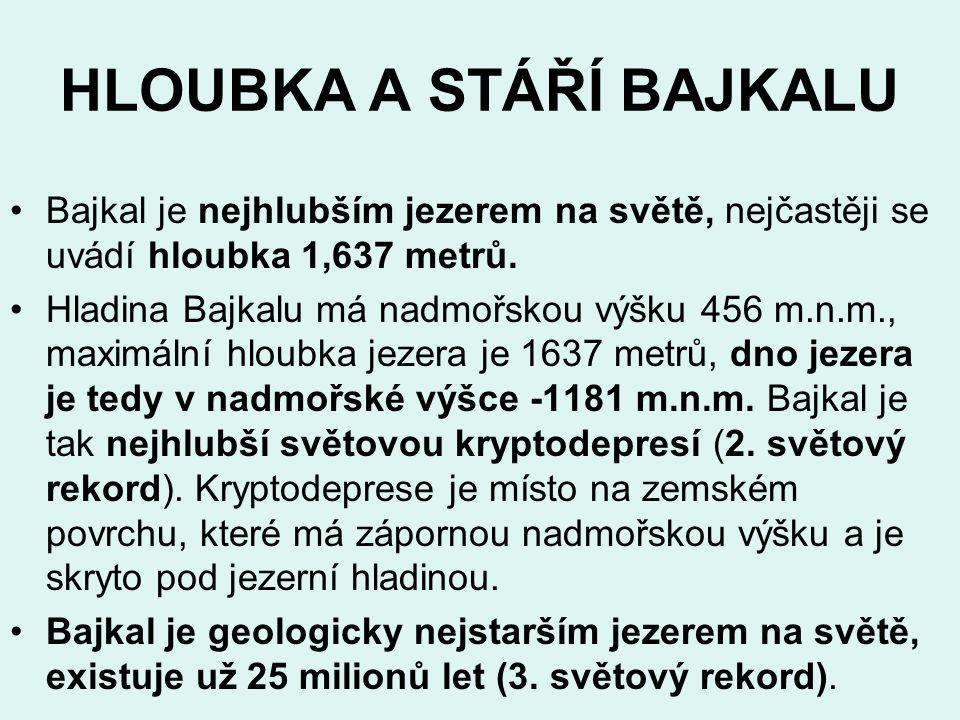 HLOUBKA A STÁŘÍ BAJKALU Bajkal je nejhlubším jezerem na světě, nejčastěji se uvádí hloubka 1,637 metrů. Hladina Bajkalu má nadmořskou výšku 456 m.n.m.