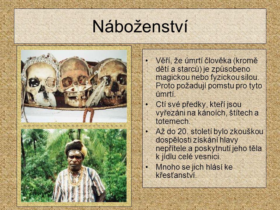 Náboženství Věří, že úmrtí člověka (kromě dětí a starců) je způsobeno magickou nebo fyzickou silou.