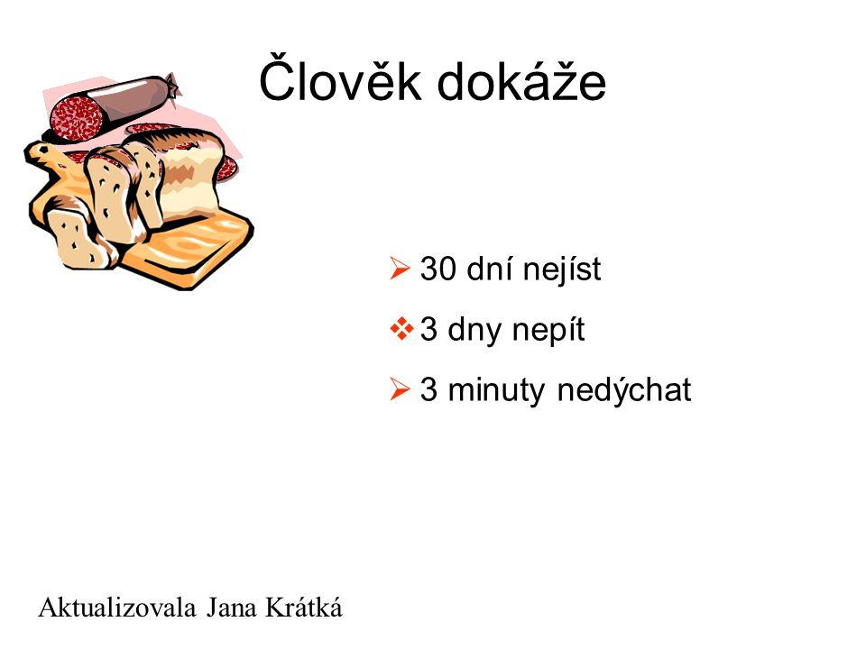 Člověk dokáže  30 dní nejíst  3 dny nepít  3 minuty nedýchat Aktualizovala Jana Krátká