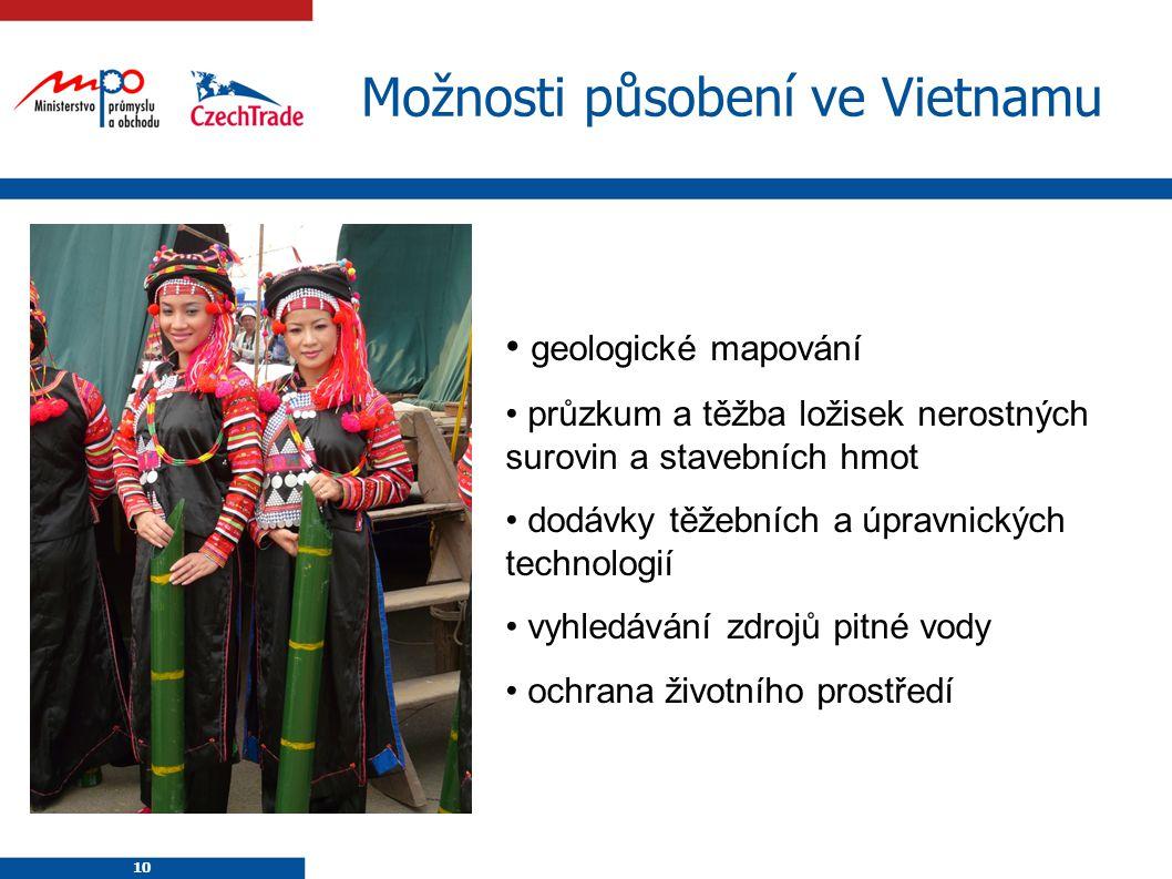 10 Možnosti působení ve Vietnamu geologické mapování průzkum a těžba ložisek nerostných surovin a stavebních hmot dodávky těžebních a úpravnických tec