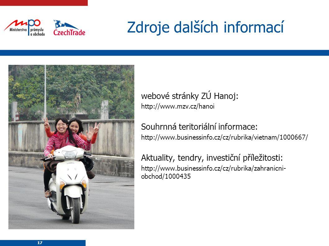 17 Zdroje dalších informací webové stránky ZÚ Hanoj: http://www.mzv.cz/hanoi Souhrnná teritoriální informace: http://www.businessinfo.cz/cz/rubrika/vi