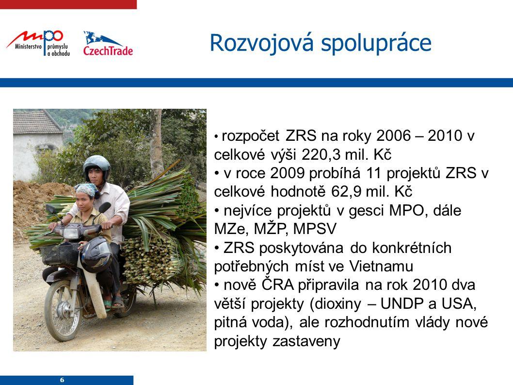 6 6 Rozvojová spolupráce rozpočet ZRS na roky 2006 – 2010 v celkové výši 220,3 mil. Kč v roce 2009 probíhá 11 projektů ZRS v celkové hodnotě 62,9 mil.