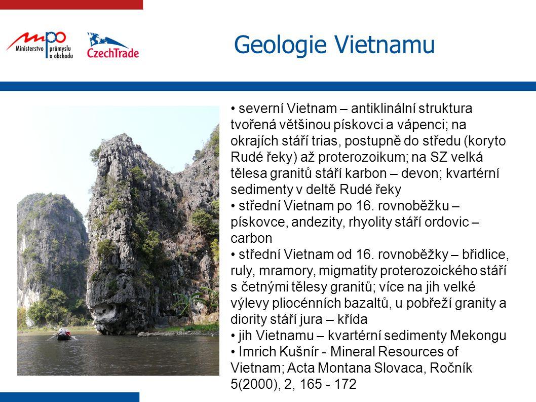 8 Geologie Vietnamu severní Vietnam – antiklinální struktura tvořená většinou pískovci a vápenci; na okrajích stáří trias, postupně do středu (koryto