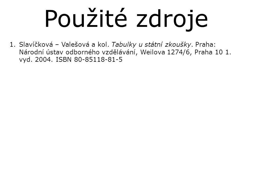 1.Slavíčková – Valešová a kol. Tabulky u státní zkoušky. Praha: Národní ústav odborného vzdělávání, Weilova 1274/6, Praha 10 1. vyd. 2004. ISBN 80-851