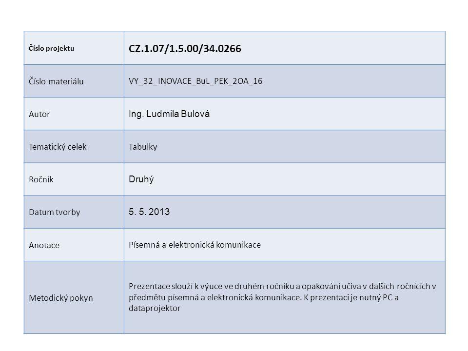 Číslo projektu CZ.1.07/1.5.00/34.0266 Číslo materiáluVY_32_INOVACE_BuL_PEK_2OA_16 Autor Ing. Ludmila Bulová Tematický celekTabulky Ročník Druhý Datum