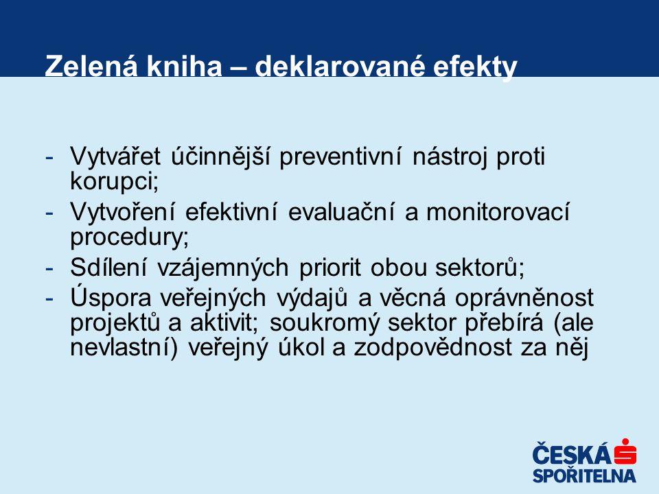 Zelená kniha – deklarované efekty -Vytvářet účinnější preventivní nástroj proti korupci; -Vytvoření efektivní evaluační a monitorovací procedury; -Sdílení vzájemných priorit obou sektorů; -Úspora veřejných výdajů a věcná oprávněnost projektů a aktivit; soukromý sektor přebírá (ale nevlastní) veřejný úkol a zodpovědnost za něj