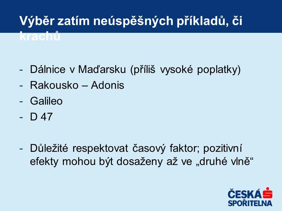 """Výběr zatím neúspěšných příkladů, či krachů -Dálnice v Maďarsku (příliš vysoké poplatky) -Rakousko – Adonis -Galileo -D 47 -Důležité respektovat časový faktor; pozitivní efekty mohou být dosaženy až ve """"druhé vlně"""