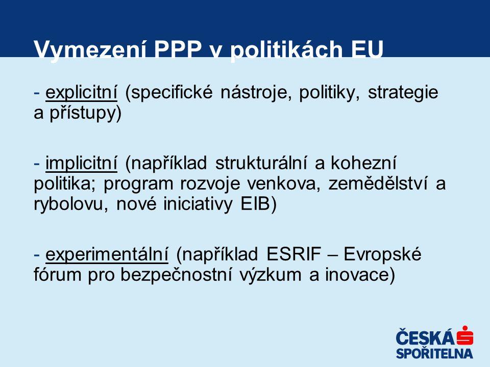 Vymezení PPP v politikách EU - explicitní (specifické nástroje, politiky, strategie a přístupy) - implicitní (například strukturální a kohezní politika; program rozvoje venkova, zemědělství a rybolovu, nové iniciativy EIB) - experimentální (například ESRIF – Evropské fórum pro bezpečnostní výzkum a inovace)