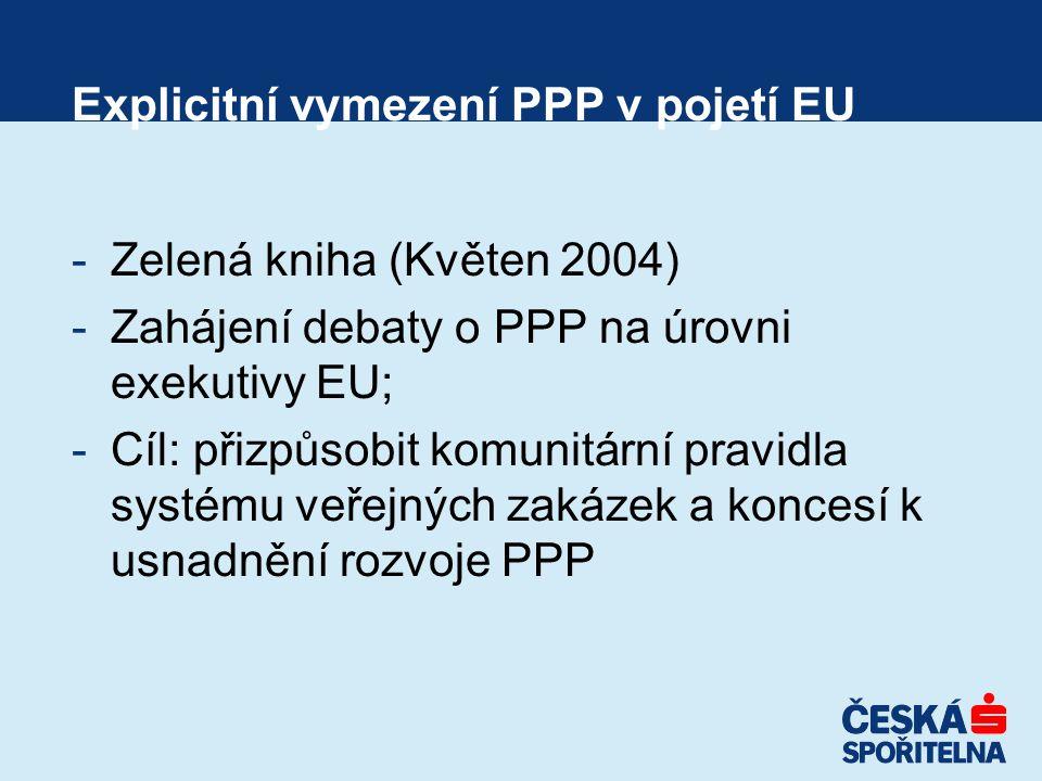 -Zelená kniha (Květen 2004) -Zahájení debaty o PPP na úrovni exekutivy EU; -Cíl: přizpůsobit komunitární pravidla systému veřejných zakázek a koncesí k usnadnění rozvoje PPP Explicitní vymezení PPP v pojetí EU