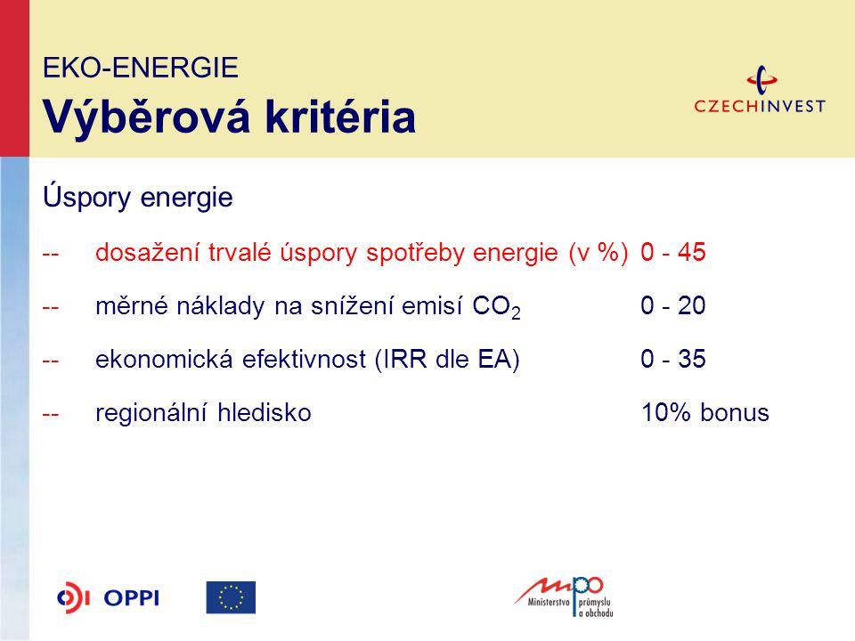 EKO-ENERGIE Výběrová kritéria Úspory energie -- dosažení trvalé úspory spotřeby energie (v %)0 - 45 --měrné náklady na snížení emisí CO 2 0 - 20 --ekonomická efektivnost (IRR dle EA)0 - 35 --regionální hledisko10% bonus
