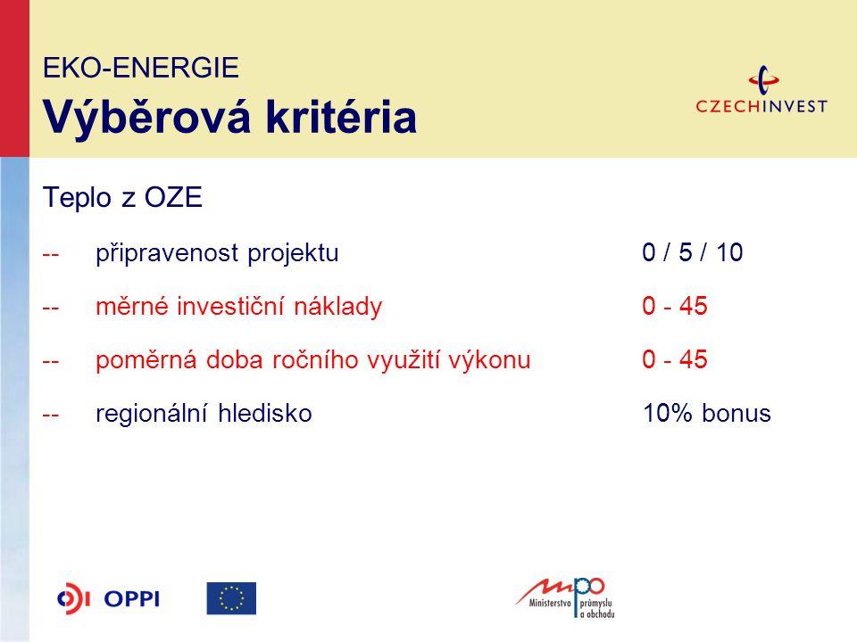 EKO-ENERGIE Výběrová kritéria Teplo z OZE -- připravenost projektu 0 / 5 / 10 --měrné investiční náklady0 - 45 --poměrná doba ročního využití výkonu0 - 45 --regionální hledisko10% bonus