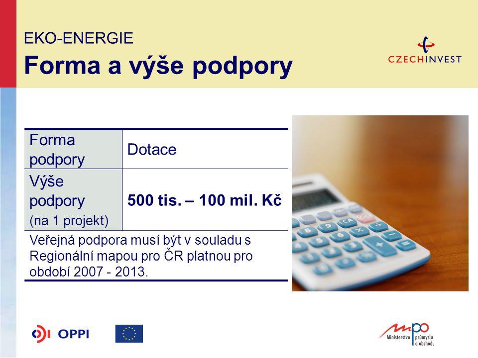 EKO-ENERGIE Forma a výše podpory Forma podpory Dotace Výše podpory (na 1 projekt) 500 tis.
