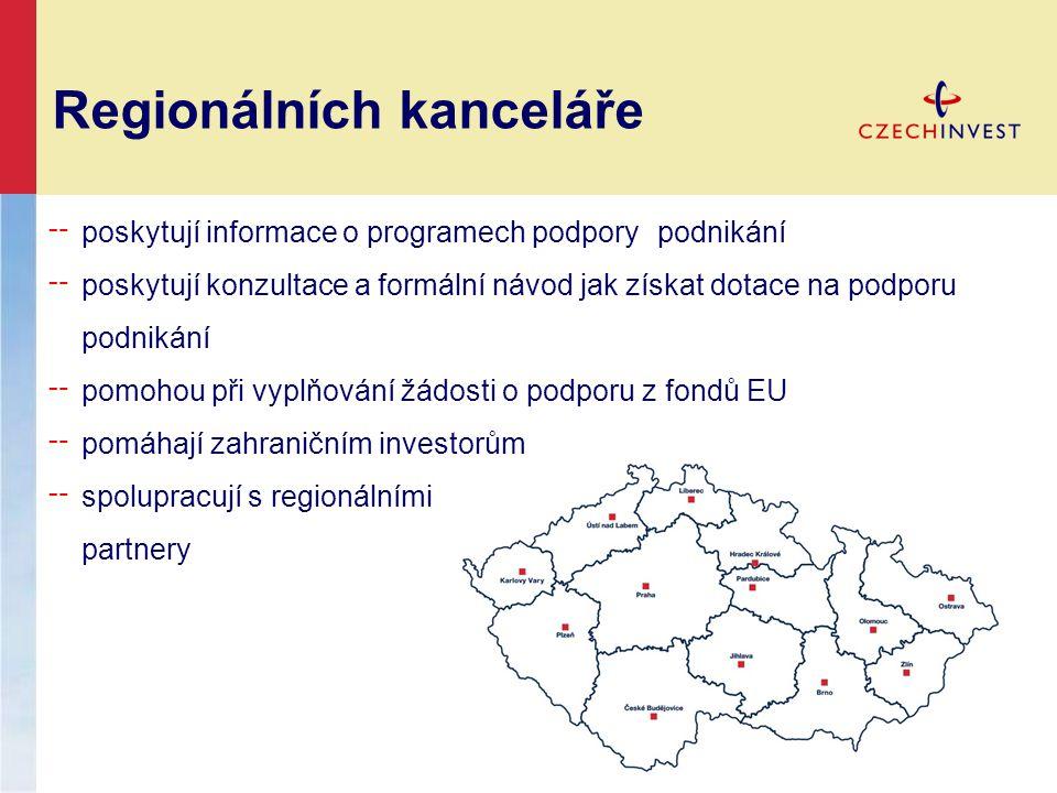 Regionálních kanceláře ╌ poskytují informace o programech podpory podnikání ╌ poskytují konzultace a formální návod jak získat dotace na podporu podnikání ╌ pomohou při vyplňování žádosti o podporu z fondů EU ╌ pomáhají zahraničním investorům ╌ spolupracují s regionálními partnery