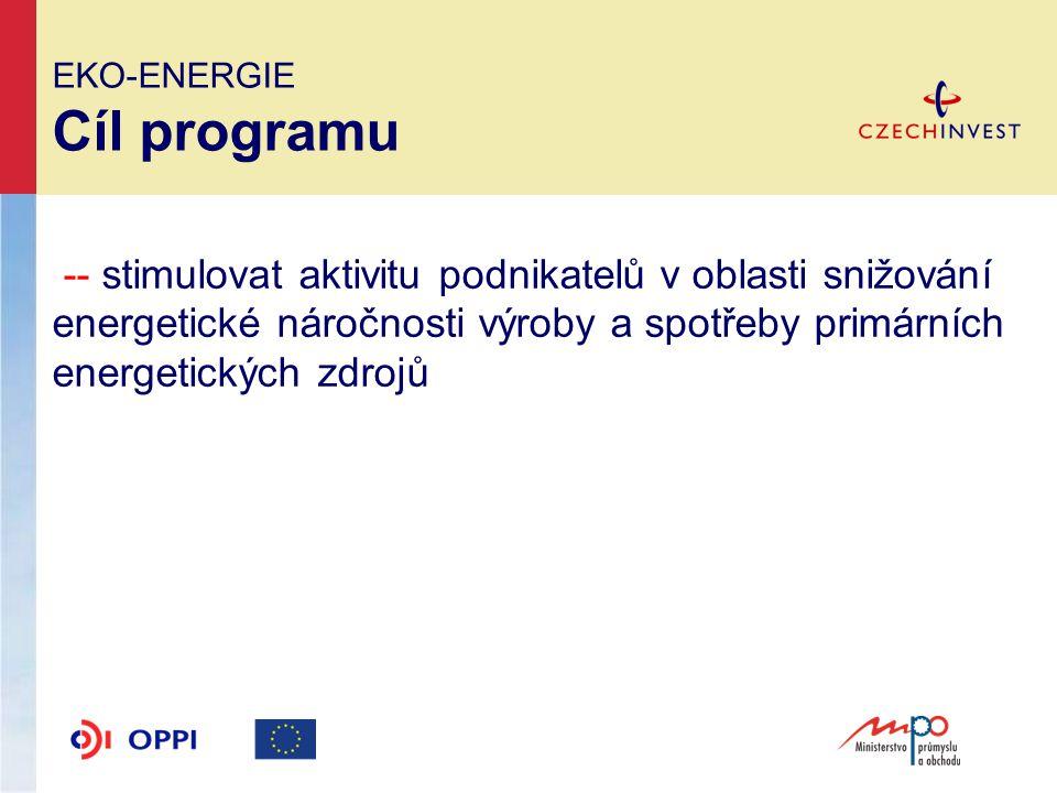 EKO-ENERGIE Podporované aktivity Zvyšování účinnosti při výrobě, přenosu a spotřebě energie --modernizace stávajících zařízení na výrobu energie pro vlastní potřebu vedoucí ke zvýšení jejich účinnosti --zavádění a modernizace systémů měření a regulace --modernizace, rekonstrukce a snižování ztrát v rozvodech elektřiny a tepla --zlepšování tepelně technických vlastností budov, s výjimkou rodinných a bytových domů --využití odpadní energie v průmyslových procesech --zvyšování energetické účinnosti zaváděním kombinované výroby elektřiny a tepla
