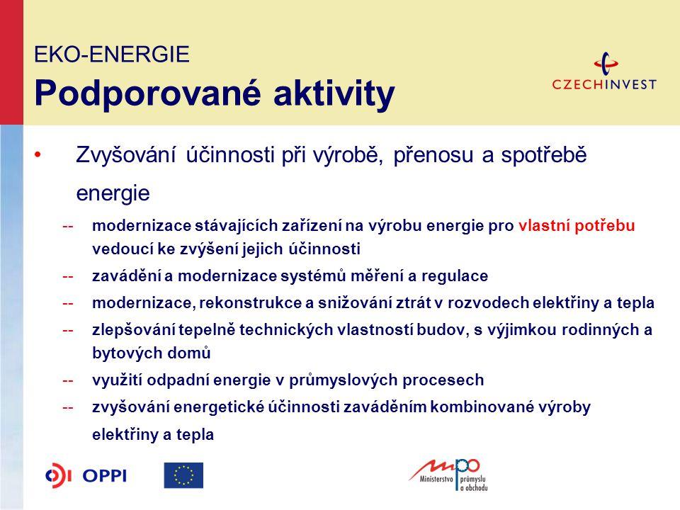 EKO-ENERGIE Podporované aktivity Využití obnovitelných a druhotných energetických zdrojů --výstavba (rekonstukce) zařízení na výrobu a rozvod elektrické energie a tepla vyrobené s využitím vody, biomasy a druhotných zdrojů energie -- příjemcem podpory pro tuto aktivitu může být pouze MSP (i začínající) --příjemce podpory nesmí být příspěvkovou organizací či společností ze 100% vlastněnou veřejným sektorem