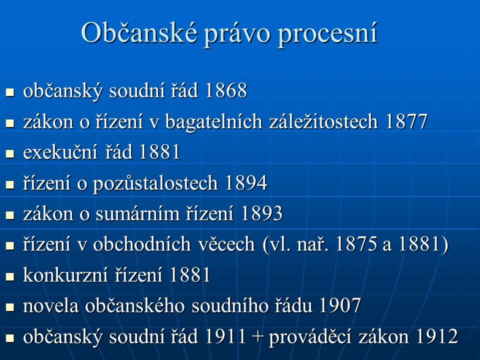 Občanské právo procesní občanský soudní řád 1868 občanský soudní řád 1868 zákon o řízení v bagatelních záležitostech 1877 zákon o řízení v bagatelních
