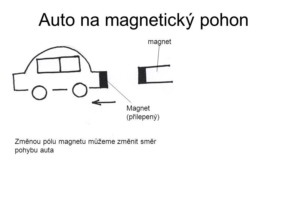 Auto na magnetický pohon Změnou pólu magnetu můžeme změnit směr pohybu auta Magnet (přilepený) magnet