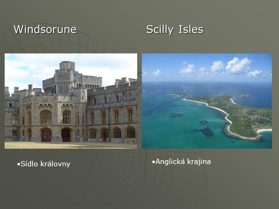Windsorune Scilly Isles Sídlo královny Anglická krajina