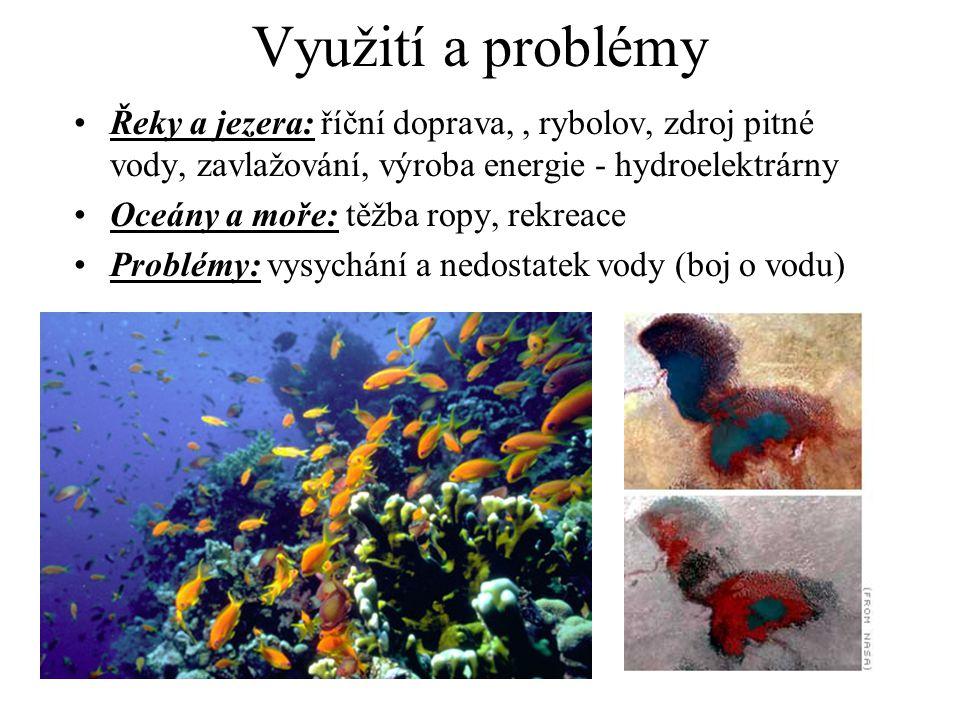 Využití a problémy Řeky a jezera: říční doprava,, rybolov, zdroj pitné vody, zavlažování, výroba energie - hydroelektrárny Oceány a moře: těžba ropy,