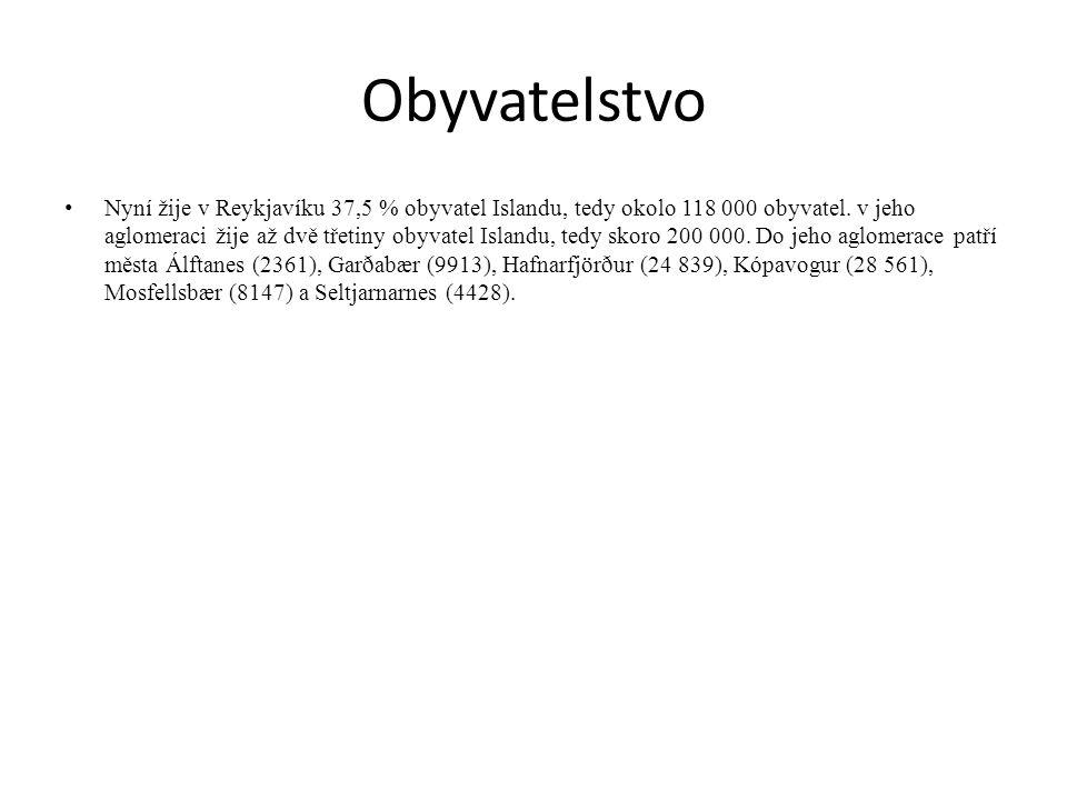 Obyvatelstvo Nyní žije v Reykjavíku 37,5 % obyvatel Islandu, tedy okolo 118 000 obyvatel.