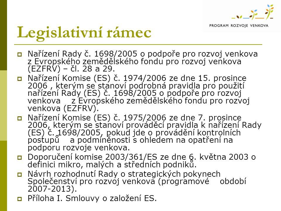 Legislativní rámec  Nařízení Rady č.