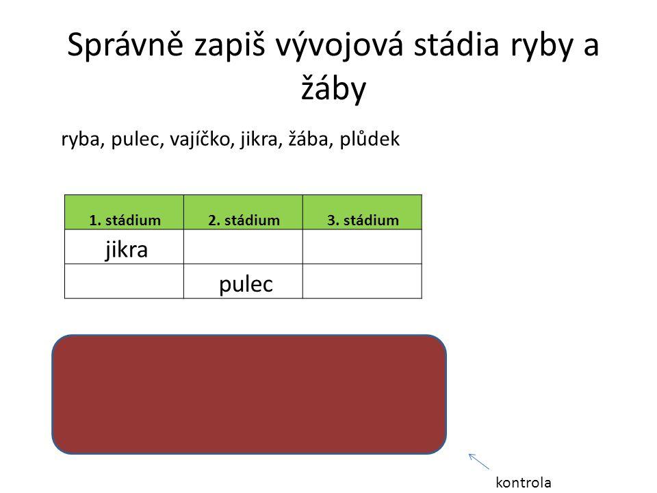 1. stádium 2. stádium 3. stádium jikra pulec Správně zapiš vývojová stádia ryby a žáby ryba, pulec, vajíčko, jikra, žába, plůdek 1. stádium2. stádium