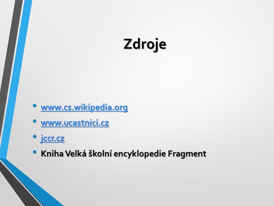 Zdroje www.cs.wikipedia.org www.cs.wikipedia.org www.cs.wikipedia.org www.ucastnici.cz www.ucastnici.cz www.ucastnici.cz jccr.cz jccr.cz jccr.cz Kniha