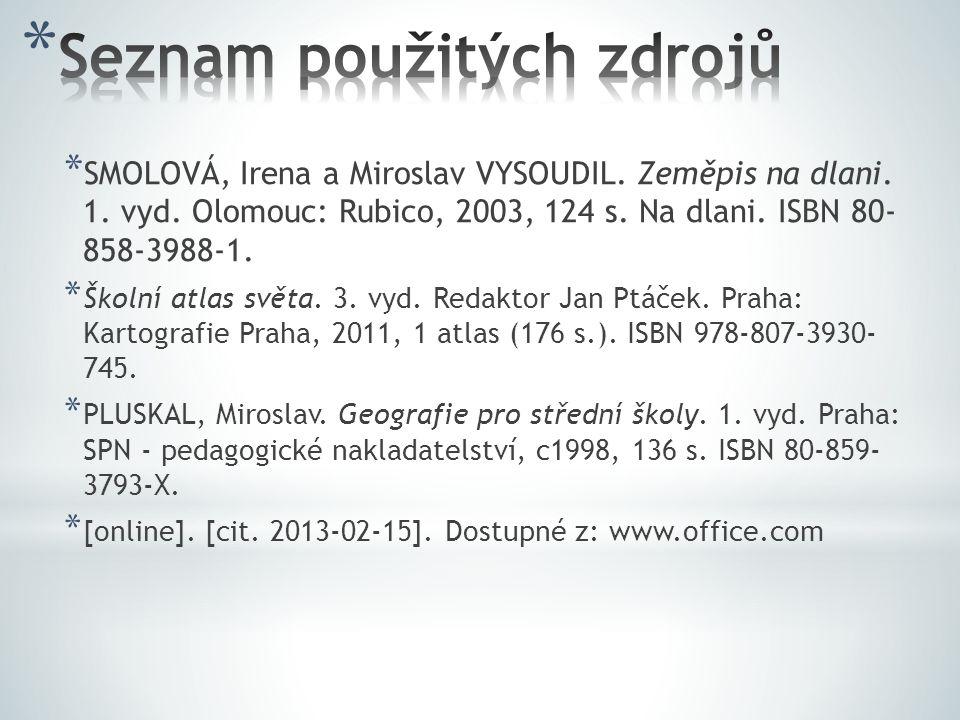 * SMOLOVÁ, Irena a Miroslav VYSOUDIL.Zeměpis na dlani.
