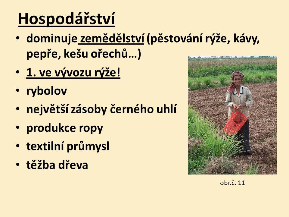 Hospodářství dominuje zemědělství (pěstování rýže, kávy, pepře, kešu ořechů…) 1.