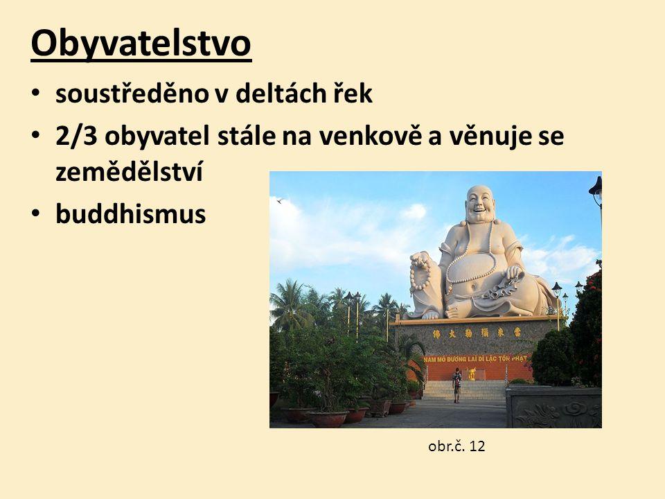 Obyvatelstvo soustředěno v deltách řek 2/3 obyvatel stále na venkově a věnuje se zemědělství buddhismus obr.č.