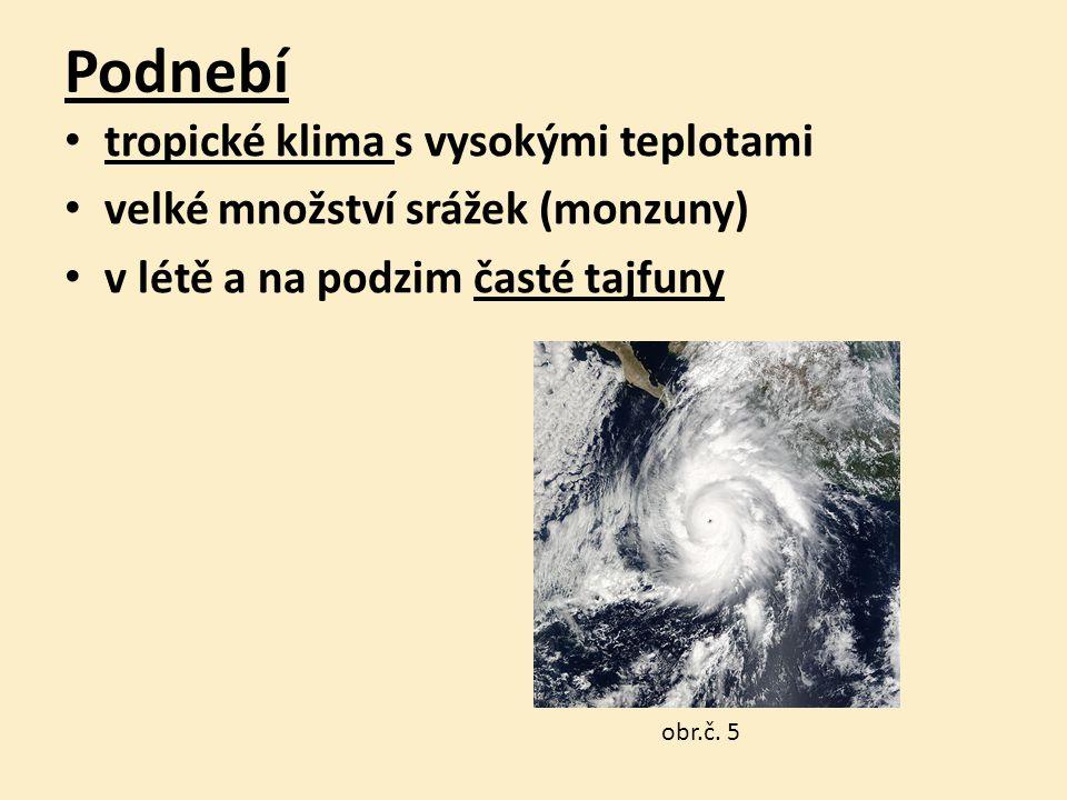Podnebí tropické klima s vysokými teplotami velké množství srážek (monzuny) v létě a na podzim časté tajfuny obr.č.