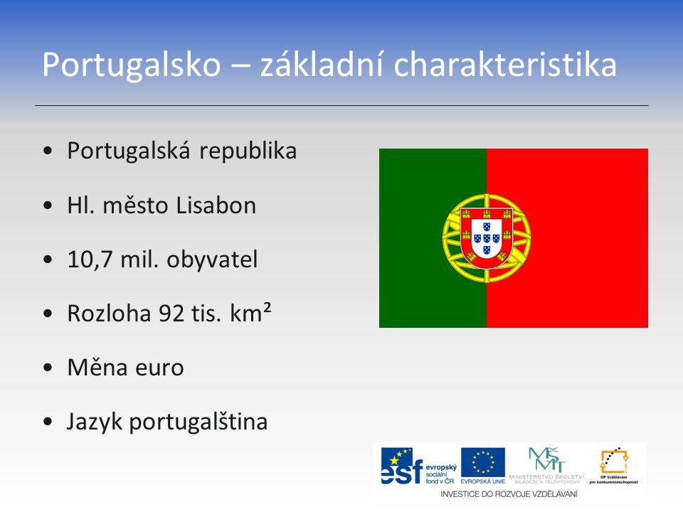Portugalsko – základní charakteristika Portugalská republika Hl. město Lisabon 10,7 mil. obyvatel Rozloha 92 tis. km² Měna euro Jazyk portugalština