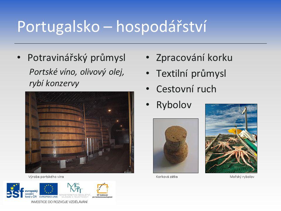 Portugalsko – hospodářství Potravinářský průmysl Portské víno, olivový olej, rybí konzervy Zpracování korku Textilní průmysl Cestovní ruch Rybolov Výr