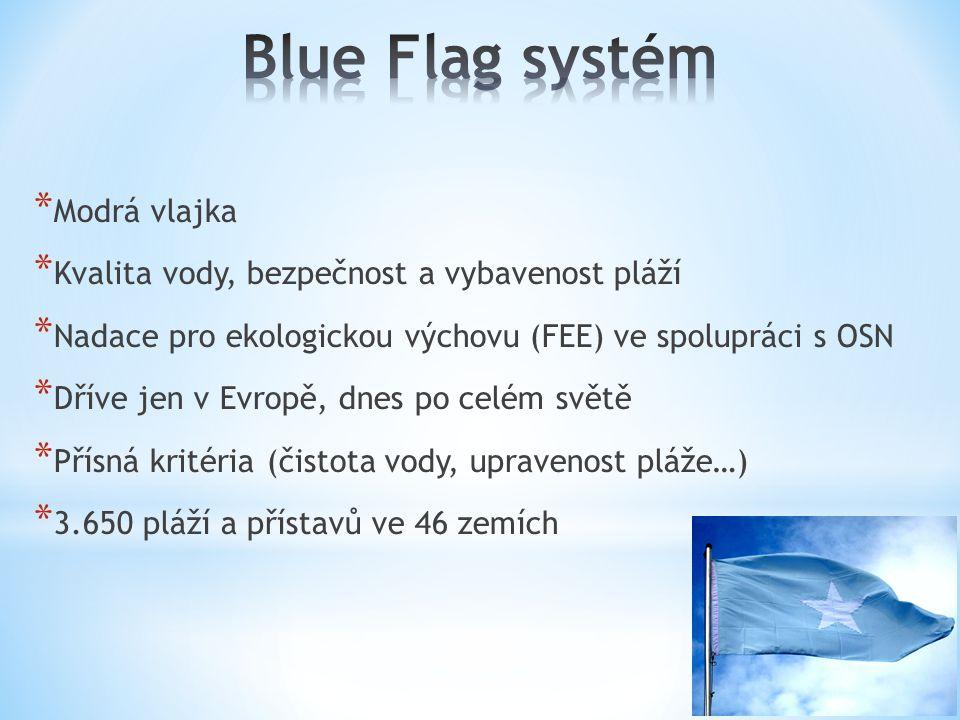 * Modrá vlajka * Kvalita vody, bezpečnost a vybavenost pláží * Nadace pro ekologickou výchovu (FEE) ve spolupráci s OSN * Dříve jen v Evropě, dnes po