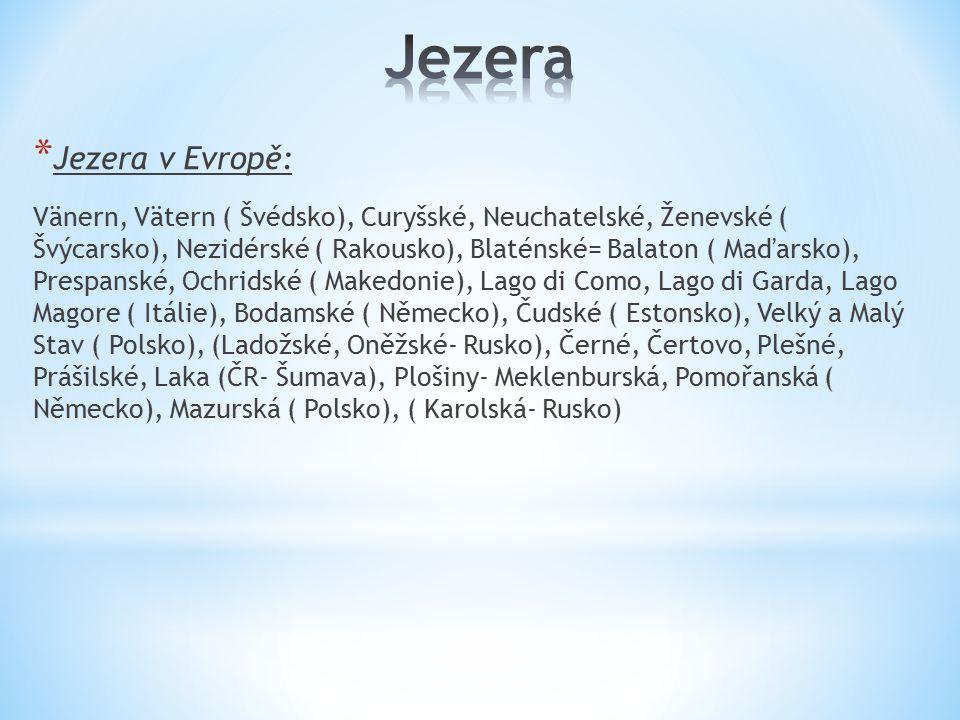 * Jezera v Evropě: Vänern, Vätern ( Švédsko), Curyšské, Neuchatelské, Ženevské ( Švýcarsko), Nezidérské ( Rakousko), Blaténské= Balaton ( Maďarsko), P