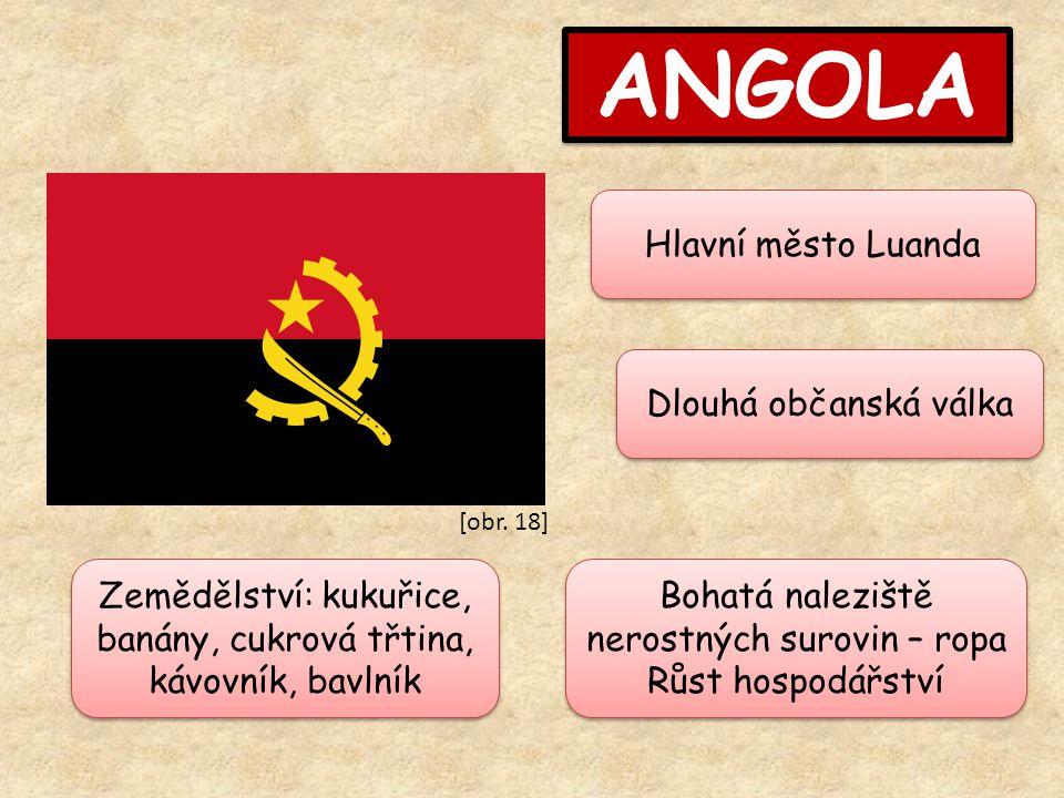 ANGOLA Hlavní město Luanda Bohatá naleziště nerostných surovin – ropa Růst hospodářství Bohatá naleziště nerostných surovin – ropa Růst hospodářství Dlouhá občanská válka Zemědělství: kukuřice, banány, cukrová třtina, kávovník, bavlník [obr.