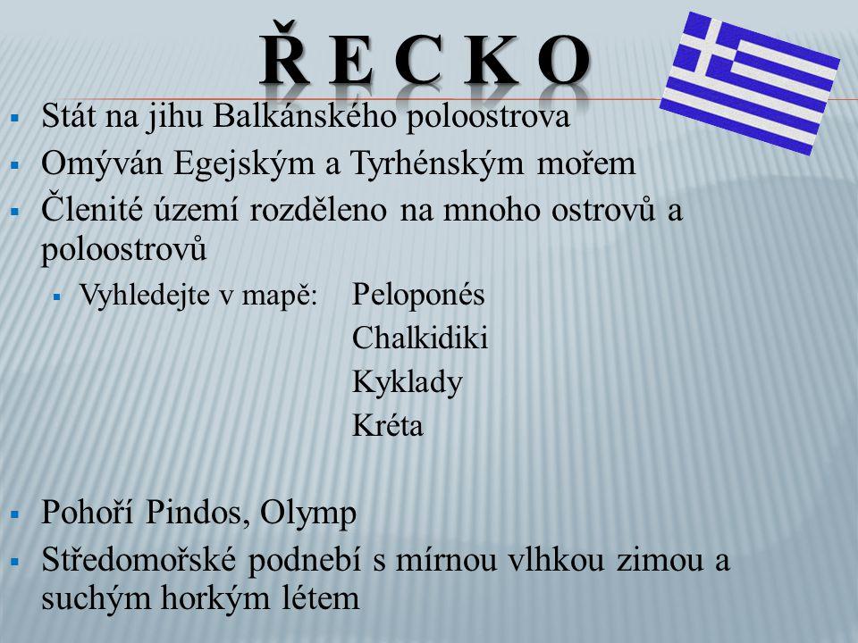  10 miliónů obyvatel žijících na 132 000 km 2  95% Řekové, menšiny: Makedonci, Turci, Albánci  Náboženství: řecká pravoslavná církev  Jazyk řečtina ( ελληνική)  Největší koncentrace v hlavním městě Athény (v aglomeraci 4 miliony)