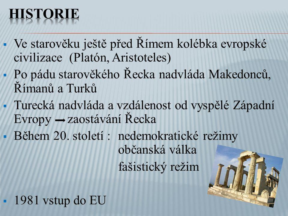  Ve starověku ještě před Římem kolébka evropské civilizace (Platón, Aristoteles)  Po pádu starověkého Řecka nadvláda Makedonců, Římanů a Turků  Tur
