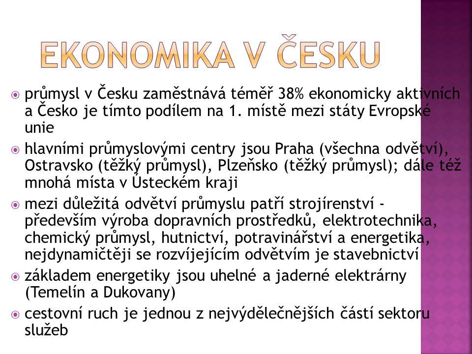  Česko po svém vzniku zdědilo strukturu průmyslu z bývalé ČSSR, jež byla nevhodná, energeticky náročná, neekologická, zastaralá a orientovaná na vojenskou výrobu, sortiment vyráběného zboží byl širší, než si země mohla dovolit; zahraniční obchod byl monopolizován a v porovnání se zeměmi Západní Evropy byl relativně malý  ještě před rozpadem ČSFR země přijímala určitou formu hospodářské pomoci od Mezinárodního měnového fondu  během 90.