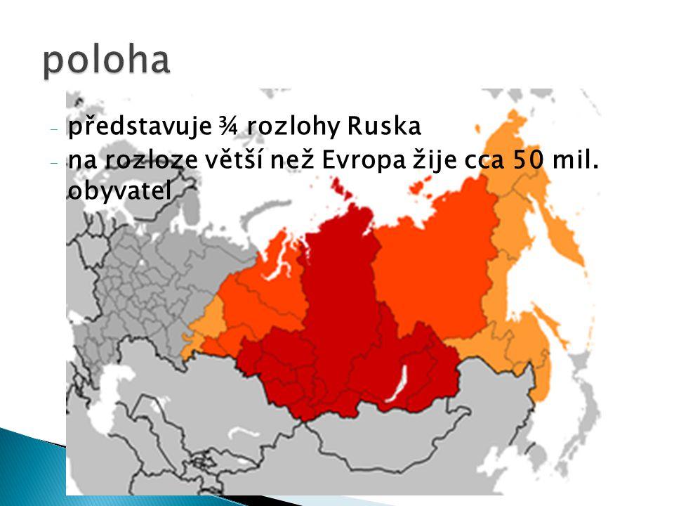 - představuje ¾ rozlohy Ruska - na rozloze větší než Evropa žije cca 50 mil. obyvatel