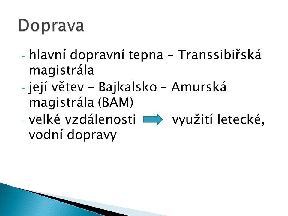 - hlavní dopravní tepna – Transsibiřská magistrála - její větev – Bajkalsko – Amurská magistrála (BAM) - velké vzdálenosti využití letecké, vodní dopr