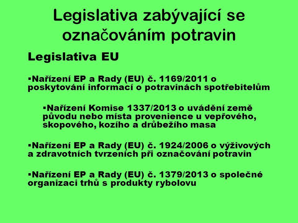 Legislativa ČR  Zákon č.110/1997 Sb., o potravinách a tabákových výrobcích  Vyhl.
