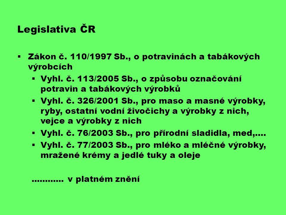 Datum ú č innosti nových pravidel Označování potravin od 13.